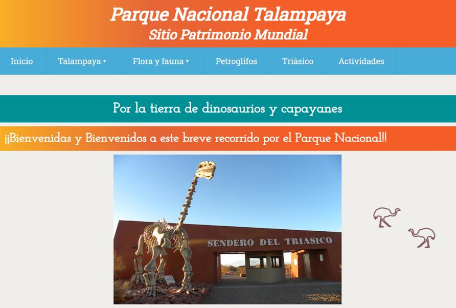 Web Educativa del Parque Nacional Talampaya: Por la tierra de dinosaurios y capayanes